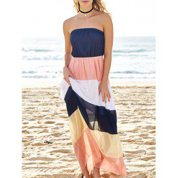 Fashionable Strapless Color Block Women's Maxi Dress
