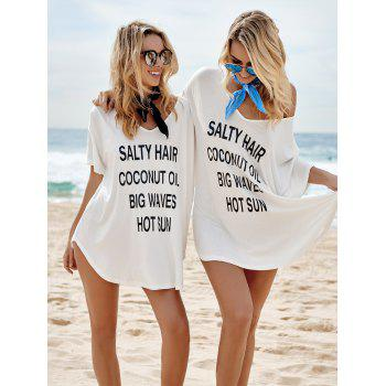 Graphic Beach Tunic Cover Up Dress - WHITE ONE SIZE(FIT SIZE XS TO M)