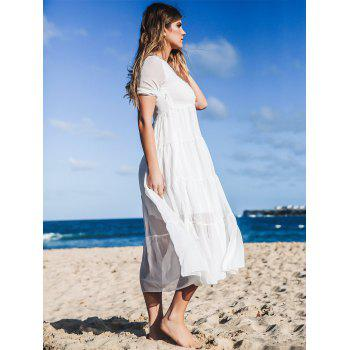Bohemian Jewel Neck Short Sleeves Maxi Dress For Women - S S