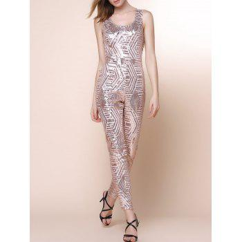 Stylish U Neck Sleeveless Geometric Sequins Women's Jumpsuit