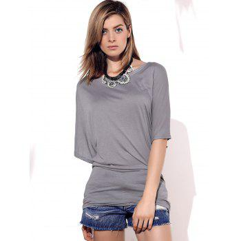 Stylish Boat Neck Short Sleeve Solid Color Women's T-Shirt - GRAY GRAY