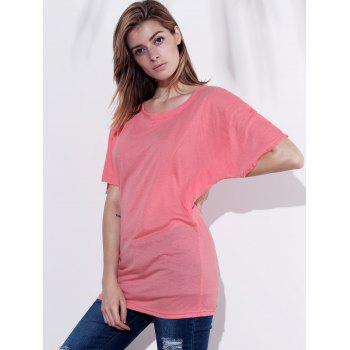 Stylish Boat Neck Short Sleeve Solid Color Women's T-Shirt - PINK S