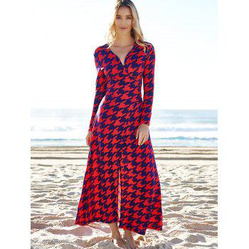 Alluring Plunging Neck 3/4 Sleeve High Slit Houndstooth Women's Dress - RED L