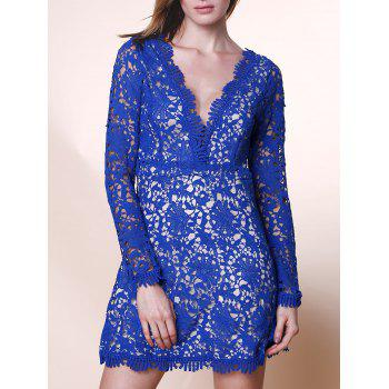 Elegant Cut Out Plunging Neck Long Sleeve Solid Color Lace Women's Dress