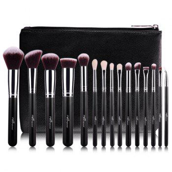 Professional 15 Pcs Goat Hair Makeup Brushes Set with Brush Bag