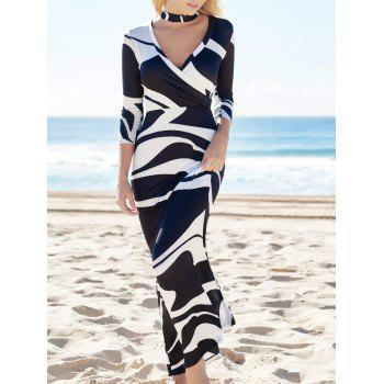 High Waist Plunging Neck Abstract Printed Maxi Dress