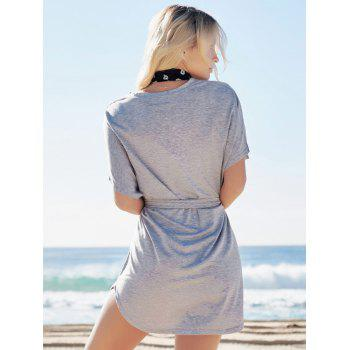 Casual Batwing Sleeve Belted Mini Dress - GRAY L