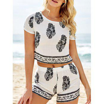 Stylish Short Sleeve Crop Top and Leaf Print Shorts Women's Suit