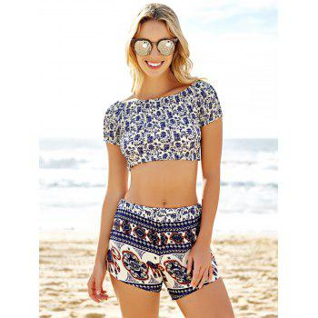 Slash Neck Crop Top and Tribal Shorts Suit - COLORMIX L