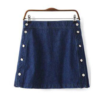 Chic Button Design Women's Mini Denim Skirt