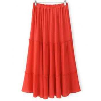 Trendy Crinkly Tiered Women's Long Skirt
