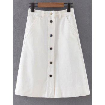 Stylish Button Front White Women's Denim Skirt