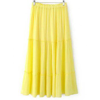 Trendy Crinkly Tiered Women's Long Skirt - LIGHT YELLOW LIGHT YELLOW