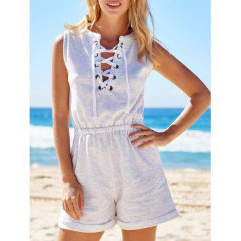 Active V-Neck Sleeveless Lace-Up Women's Playsuit