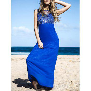 Elegant Round Neck Spliced Beading Embellished Backless Sleeveless Women's Maxi Dress