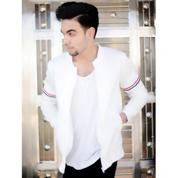 Casual Stand Collar Colorized Striped Taps Rib Spliced Long Sleeves Men's Slimming Jacket - WHITE L