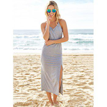 Sexy V-Neck Sleeveless High Slit Backless Women's Taupe Dress - GRAY M