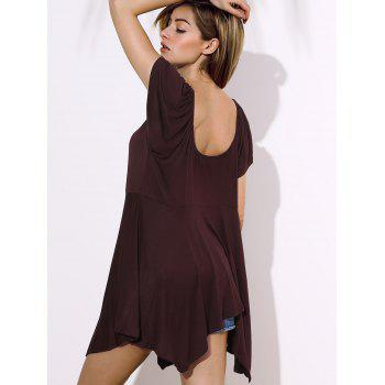 Stylish Square Neck Short Sleeve Asymmetrical Solid Color Women's Blouse - DEEP BROWN 2XL