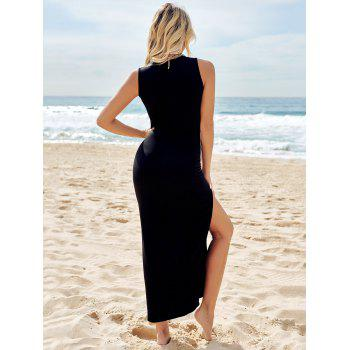 Black Round Collar Sleeveless High Slit Maxi Dress - BLACK M