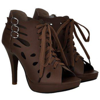 Trendy Hollow Out and Buckles Design Women's Peep Toe Shoes - COFFEE COFFEE
