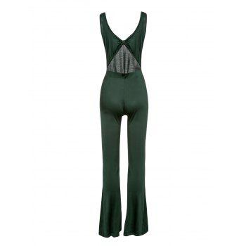 s 'Jumpsuit Chic manches U-Neck Solid Color Cut Out Skinny femmes - Vert M