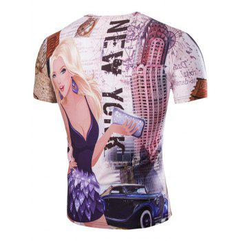 Casual 3D Girl Printed Men's Short Sleeves T-Shirt - COLORMIX M