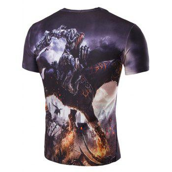 Men's 3D Abstract Horse Print Round Neck Short Sleeves T-Shirt - COLORMIX 2XL