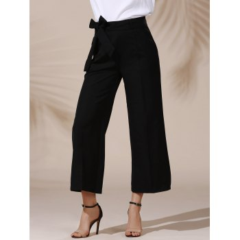 Firstgrabber Trendy Mid Waist Solid Color Self Tie Belt Loose Ankle Length Women's Pants