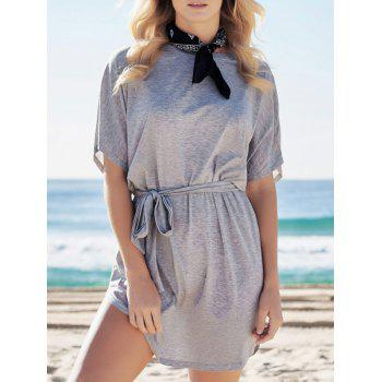 Casual Batwing Sleeve Belted Mini Dress - GRAY GRAY