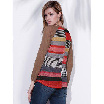 Women's Colorful Scoop Neck Asymmetrical Long Sleeve T-Shirt - STRIPE M