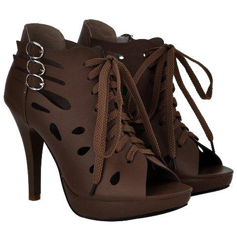 Trendy Hollow Out and Buckles Design Women's Peep Toe Shoes - COFFEE 39