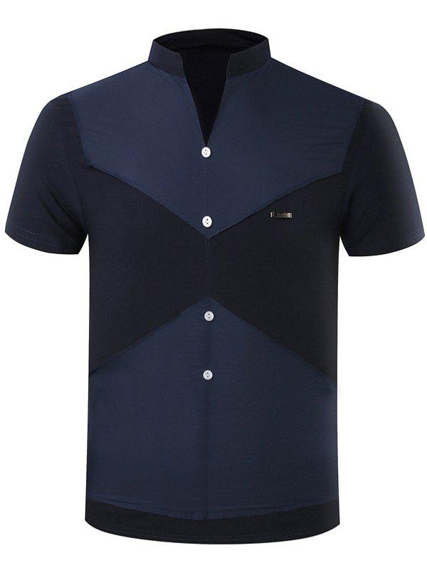 Simple Stand Collar Splicing Sequin Embellished Short Sleeve T-Shirt For Men - SAPPHIRE BLUE 2XL