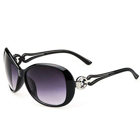 Chic Circular Ring Matching Design Hollow Out Women's Sunglasses - BLACK