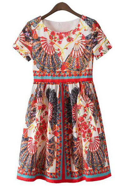 Vintage Round Neck Short Sleeves High-Waist Printed Women's Dress - COLORMIX L