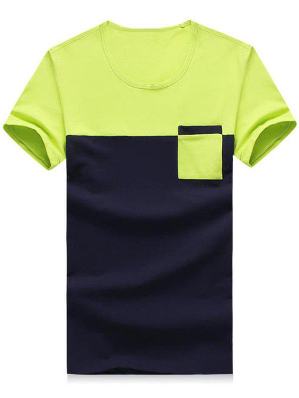 Men's Plus Size Round Neck Color Block Pocket Short Sleeve T-Shirt - NEON BRIGHT GREEN 2XL