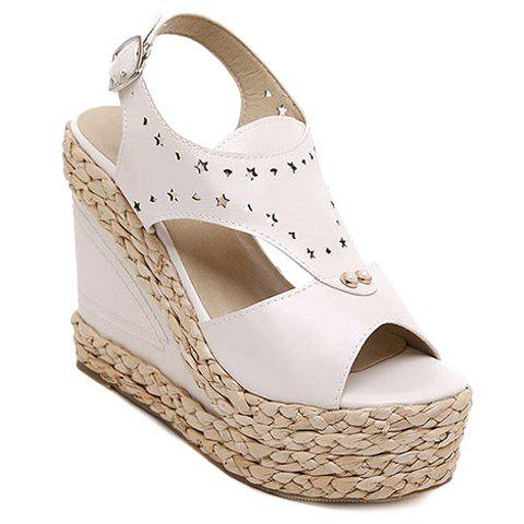 Stylish Engraving and Faux Pearls Design Women's Sandals - OFF WHITE 36