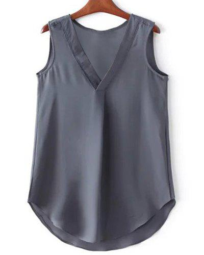 Elegant V-Neck Hollow Out Asymmetric Women's Tank Top - GRAY L