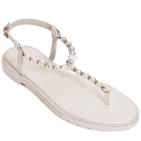 Sweet Beading and Flat Heel Design Women's Sandals - OFF WHITE 38