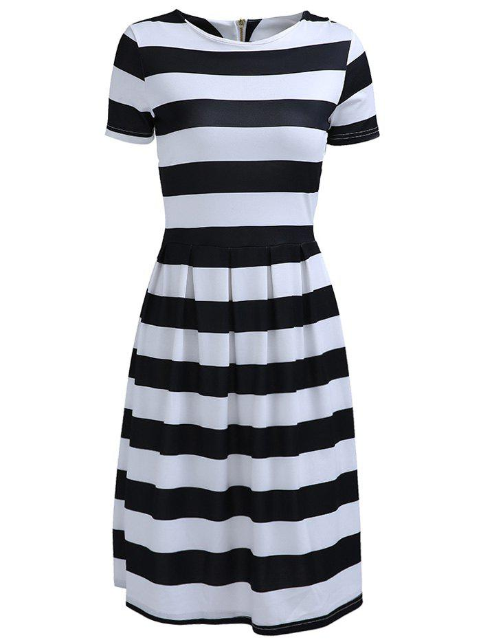 Trendy Round Neck Short Sleeve Striped Dress For Women - STRIPE M