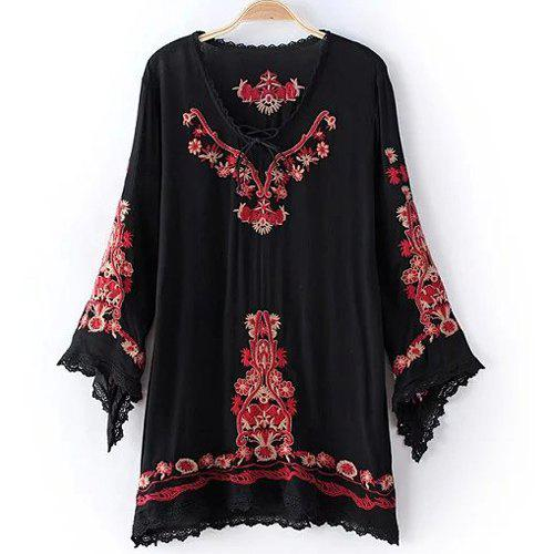 Retro Women's Long Sleeve Embroidery Embellished Lace Spliced Dress - BLACK S