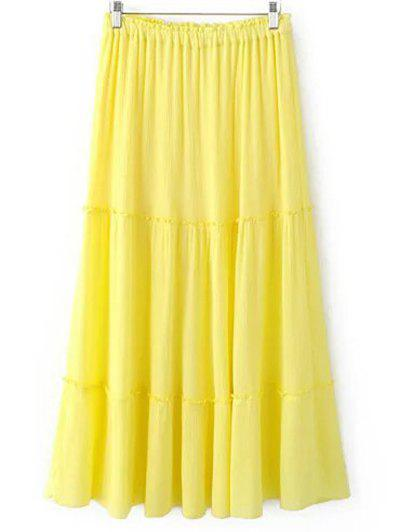 Trendy Crinkly Tiered Women's Long Skirt - LIGHT YELLOW L