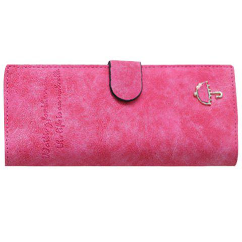 Concise Letters and Solid Color Design Women's Wallet - ROSE