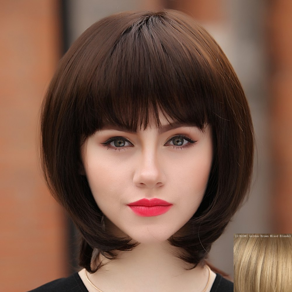 Sweet Medium Straight Full Bang Capless Womens Human Hair WigHair<br><br><br>Color: GOLDEN BROWN WITH BLONDE