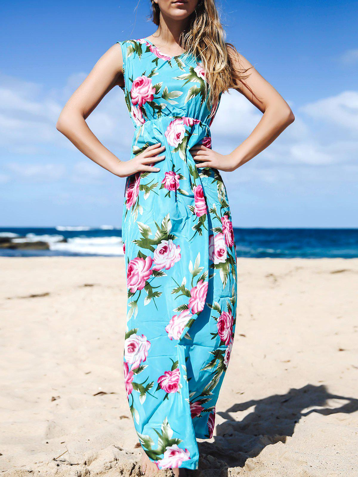 Charming Floral Printed V-Neck Sleeveless Pleated Maxi Dress For Women - S LAKE BLUE