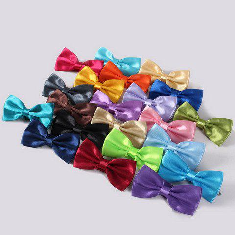 Stylish Men's Solid Color Smooth Satin Bow Tie - WATER BLUE