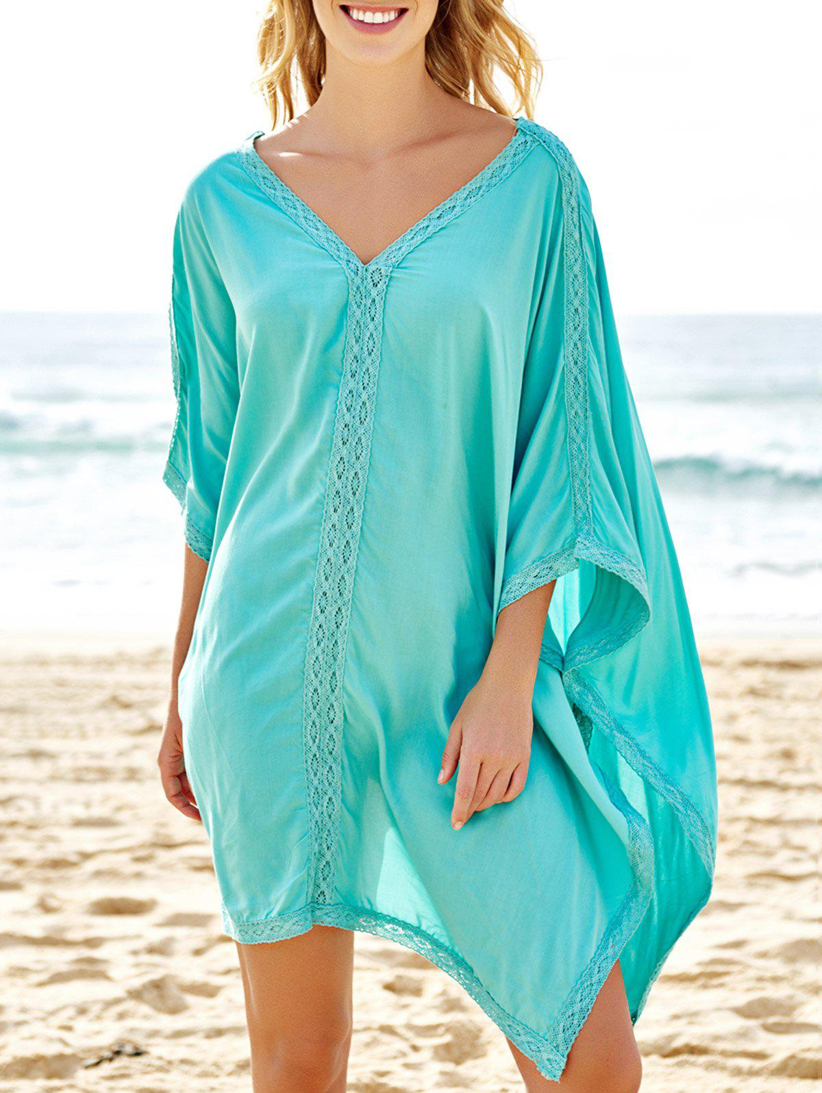 Stylish Plunging Neck Spliced 3/4 Sleeve Women's Cover-Up - BLUE ONE SIZE(FIT SIZE XS TO M)