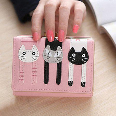 Cute Cat Pattern and PU Leather Design Women's Small Wallet