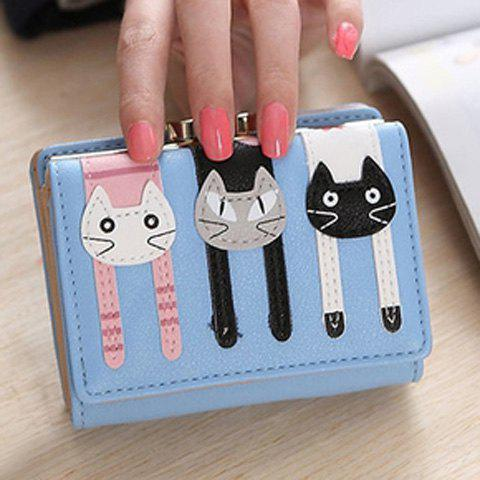 Cute Cat Pattern and PU Leather Design Women's Small Wallet - LIGHT BLUE