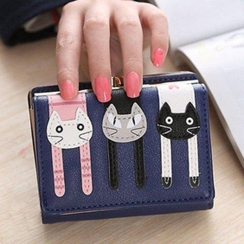 Cute Cat Pattern and PU Leather Design Women's Small Wallet -  SAPPHIRE BLUE