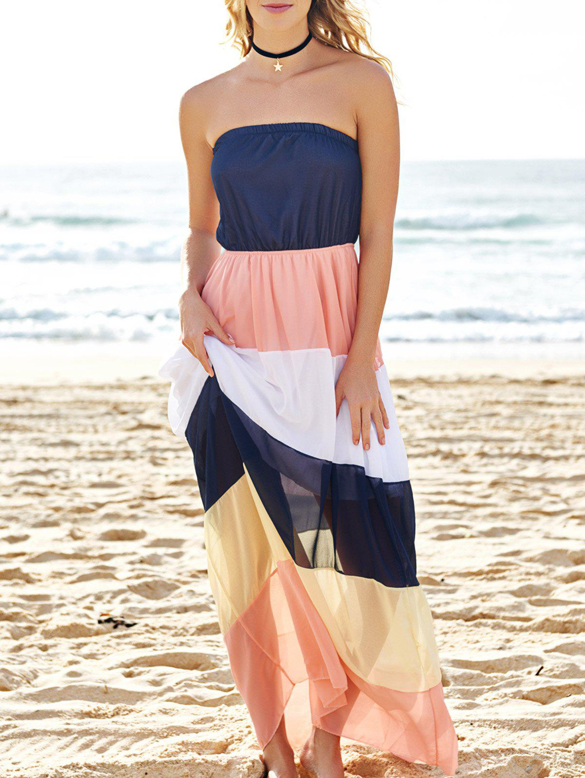 Fashionable Strapless Color Block Women's Maxi Dress - COLORMIX M